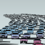 An illustration of a traffic jam stretching into the horizon.