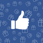 thumbs-up symbol over a background of gift boxes