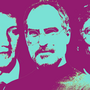 Mark Zuckerberg, Steve Jobs, Bill Gates on purple background