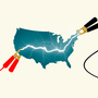 An illustration of jumper cables attached to the United States, signifying a jumpstart to American development.
