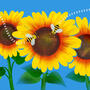 illustration of sunflowers on a blue background with bees buzzing