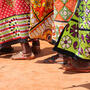 Close-up of Kenyan women dancing in traditional clothing