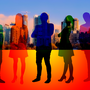 Silhouettes of business people in a rainbow of colors set to the backdrop of a city.